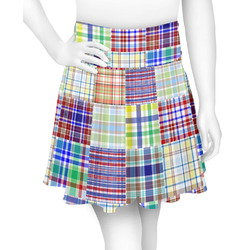 Blue Madras Plaid Print Skater Skirt (Personalized)