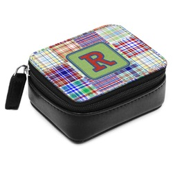 Blue Madras Plaid Print Small Leatherette Travel Pill Case (Personalized)