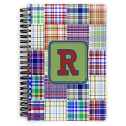 Blue Madras Plaid Print Spiral Bound Notebook (Personalized)