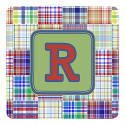 Blue Madras Plaid Print Square Decal - Medium (Personalized)