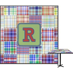 Blue Madras Plaid Print Square Table Top (Personalized)