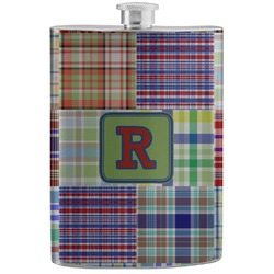Blue Madras Plaid Print Stainless Steel Flask (Personalized)
