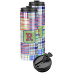 Blue Madras Plaid Print Stainless Steel Skinny Tumbler (Personalized)