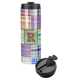 Blue Madras Plaid Print Stainless Steel Tumbler (Personalized)