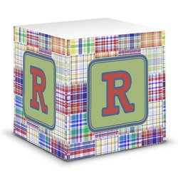 Blue Madras Plaid Print Sticky Note Cube (Personalized)