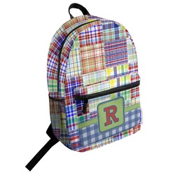 Blue Madras Plaid Print Student Backpack (Personalized)
