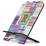 Blue Madras Plaid Print Stylized Tablet Stand (Personalized)