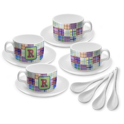 Blue Madras Plaid Print Tea Cup - Set of 4 (Personalized)