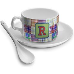 Blue Madras Plaid Print Tea Cup - Single (Personalized)