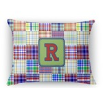 Blue Madras Plaid Print Rectangular Throw Pillow (Personalized)