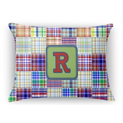 Blue Madras Plaid Print Rectangular Throw Pillow Case (Personalized)
