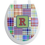 Blue Madras Plaid Print Toilet Seat Decal (Personalized)