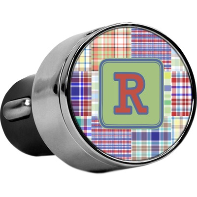 Blue Madras Plaid Print USB Car Charger (Personalized)