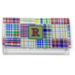Blue Madras Plaid Print Vinyl Checkbook Cover (Personalized)