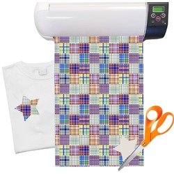 "Blue Madras Plaid Print Heat Transfer Vinyl Sheet (12""x18"")"