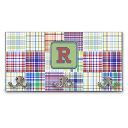 Blue Madras Plaid Print Wall Mounted Coat Rack (Personalized)