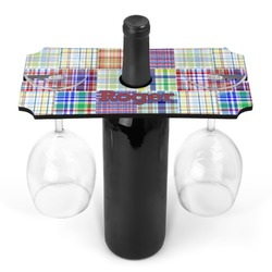 Blue Madras Plaid Print Wine Bottle & Glass Holder (Personalized)