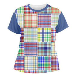 Blue Madras Plaid Print Women's Crew T-Shirt (Personalized)