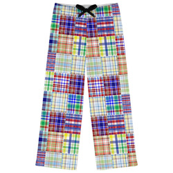 Blue Madras Plaid Print Womens Pajama Pants (Personalized)