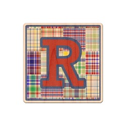 Blue Madras Plaid Print Genuine Maple or Cherry Wood Sticker (Personalized)