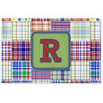 Blue Madras Plaid Print Woven Mat (Personalized)