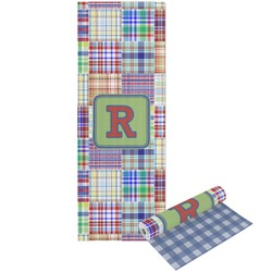 Blue Madras Plaid Print Yoga Mat - Printable Front and Back (Personalized)