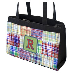 Blue Madras Plaid Print Zippered Everyday Tote (Personalized)