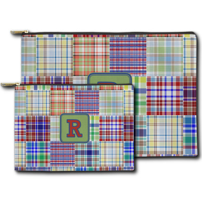 Blue Madras Plaid Print Zipper Pouch (Personalized)