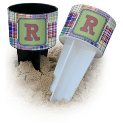Blue Madras Plaid Print Beach Spiker Drink Holder (Personalized)