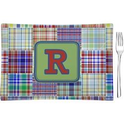 Blue Madras Plaid Print Glass Rectangular Appetizer / Dessert Plate - Single or Set (Personalized)