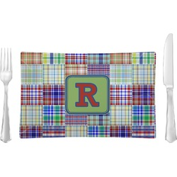 Blue Madras Plaid Print Glass Rectangular Lunch / Dinner Plate - Single or Set (Personalized)