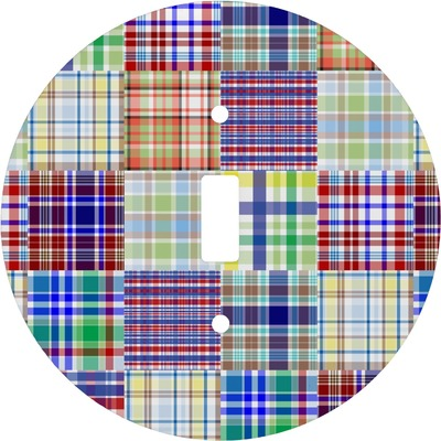 Blue Madras Plaid Print Round Light Switch Cover (Personalized)