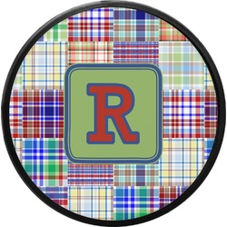 Blue Madras Plaid Print Round Trailer Hitch Cover (Personalized)