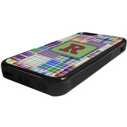 Blue Madras Plaid Print Rubber iPhone 5C Phone Case (Personalized)