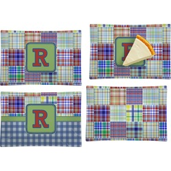 Blue Madras Plaid Print Set of 4 Glass Rectangular Appetizer / Dessert Plate (Personalized)