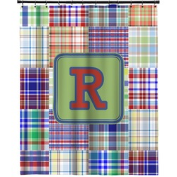 """Blue Madras Plaid Print Extra Long Shower Curtain - 70""""x84"""" (Personalized)"""