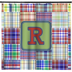 Blue Madras Plaid Print Shower Curtain (Personalized)