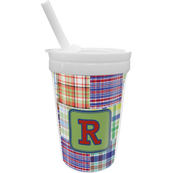 Blue Madras Plaid Print Sippy Cup with Straw (Personalized)