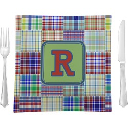"Blue Madras Plaid Print Glass Square Lunch / Dinner Plate 9.5"" - Single or Set of 4 (Personalized)"