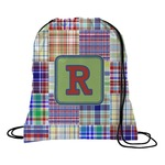 Blue Madras Plaid Print Drawstring Backpack (Personalized)