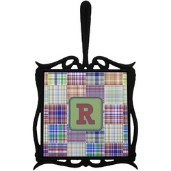 Blue Madras Plaid Print Trivet with Handle (Personalized)
