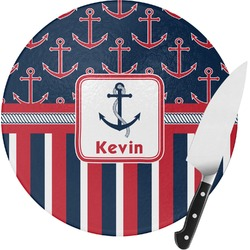 Nautical Anchors & Stripes Round Glass Cutting Board - Small (Personalized)
