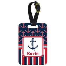 Nautical Anchors & Stripes Aluminum Luggage Tag (Personalized)