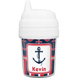 Nautical Anchors & Stripes Baby Sippy Cup (Personalized)