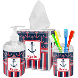Nautical Anchors & Stripes Bathroom Accessories Set (Personalized)