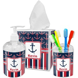 Nautical Anchors & Stripes Acrylic Bathroom Accessories Set w/ Name or Text