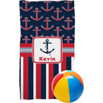Nautical Anchors & Stripes Beach Towel (Personalized)