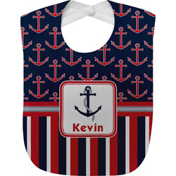 Nautical Anchors & Stripes Baby Bib (Personalized)