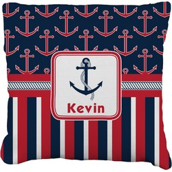 Nautical Anchors & Stripes Faux-Linen Throw Pillow (Personalized)