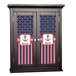 Nautical Anchors & Stripes Cabinet Decal - Custom Size (Personalized)